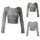 F52 LADIES LONG SLEEVE AZTEC PRINT LEPOARD ANIMAL DESIGN CROP TOP WOMENS T SHIRT
