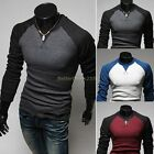 Stylish Casual Slim Fit Men's Long Sleeved Color Stitching Tops Tee T-shirt B20E