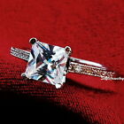 White Gold Plate Women Swarovski Crystal Princess Cut Square Engagement Ring R51
