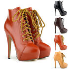 WOMENS LACE UP PLATFORM STILETTO ANKLE BOOTS SHOES HIGH PU LEATHER SIZE 3.5- 8.5