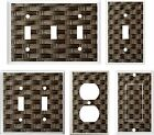 IMAGE OF WICKER DARK BROWN #3 LIGHT SWITCH COVER PLATE OR OUTLETS U PICK PLATE
