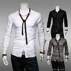 Korean Slim Casual Fashion Solid Color Cotton Men's Shirts Long-sleeved Shirt