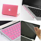 4in1 Pink Rubberized Hard Case+Keyboard Cover+Plug For Macbook Air Pro 11 13 15