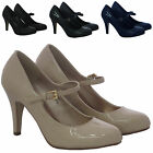 LADIES COURT LOW MID KITTEN HEEL SMART CASUAL WOMENS MARY JANE PLATFORM SHOES