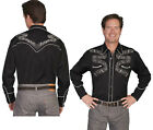 P-834ds Scully Western Cowboy Retro Snap Shirt Music Embroidered Black Stage