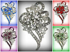 VTG-D CRYSTAL FLOWER BROOCH PIN~CLEAR PURPLE RED GREEN~MOTHER OF THE BRIDE GIFT