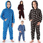 Boys Kids Printed Fleece Onesies Football Stars Sleepsuit All In One Pjs Soft