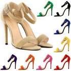 WOMENS FAUX VELVET STILETTOS HIGH HEELS SHOES SANDALS SIZE 4 5 6 7 8 9 10 11