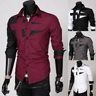 Ideal Mens Slim Fit Unique Neckline Stylish Dress Long Sleeve Pop Shirt