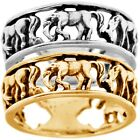 925 Sterling Silver Oxidized Black Open Cut Wild West HORSE Band Ring Size 3-11