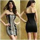 Sexy Womens Strapless Sequins Cocktail Slim Stretch Bodycon Evening Party Dress