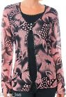 Pink/Black Floral Long Sleeve Layer Look Cardigan Cover Plus Top XL/2XL/3XL