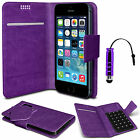 Purple Thin Faux Leather Suction Pad Wallet Case Cover Skin For Various Mobiles