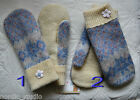 HANDMADE 100% WOOL recycled Icelandic sweater MITTENS, Fleece Lined, Fair Isle