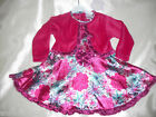 Party satin floral party dress & bolero. 6-12 months to 5-6 years.