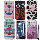 For Samsung Captivate Glide i927 DIAMOND GEM BLING HARD Case Phone Cover + Pen