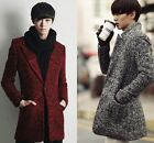 Korean Winter New Men's Slim Fit Wool Trench Windbreaker Long Parkas Thick Coats