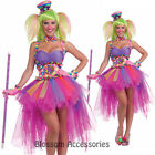 C930FN WomenTutu Lulu The Clown Circus with Rainbow Skirt Adult Costume