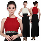 Women Embellish Contrast Colour Block Party Evening Maxi Cocktail Occasion Dress