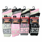 L014 LADIES 12prs CHUNKY THERMAL OUTDOOR BOOT HIKE WALKING SOCKS FAIRISLE DESIGN