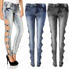 NEW LADIES BLUE ACID WASH CUT OUT SIDES BOW JEANS WOMEN DENIM SKINNY STRETCH