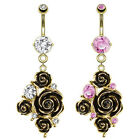 14k Gold Plated Black Rose Flower with CZ Dangle Belly Button Navel Ring 14G