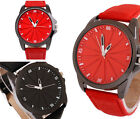 Fashion Red Black Compass Leather Band Quartz Women's Men's Wrist Watch