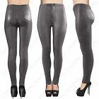 LADIES HIGH WAISTED GREY PU TUBE JEANS LEATHER LOOK SKINNY FIT DISCO PANTS