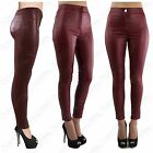 LADIES HIGH WAISTED WINE PU TUBE JEANS LEATHER LOOK SKINNY FIT DISCO PANTS