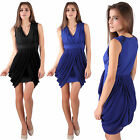 Donna Bella Chic Sleeveless V Neck Day Party Cocktail Tulip Dress Jersey Chiffon