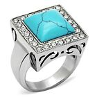 Stainless Steel Reconstituted Turquoise Blue Square CZ Outlined Ring Sizes 8-13