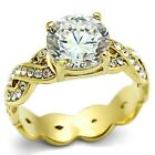 New Gold IP Ladies Round CZ Solitaire Cluster Cocktail Ring
