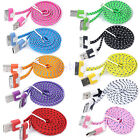 New Hot 1M 3FT Noodle Flat Braid USB Sync Charger Cable Cord For iPhone 4 4S