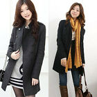 Ladies Double-Breasted Long Trench Slim Fit Wool Blend Warm Coat Outwear Gray