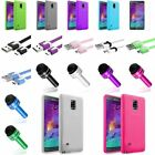 Frost Colors TPU Skin Case+Flat Micro USB Cable+SP+Pen For Samsung Galaxy Note 4