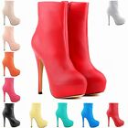 Fashion Ladies High Heels Boot PU Leather Platform Shoes UK Size 2 3 4 5 6 7 8 9
