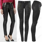 NEW LADIES WOMEN BLACK PU GOLD ZIPS JEANS LEATHER LOOK SKINNY STRETCH FIT TROUSE