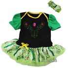 Baby Green Anna Princess Costume Bodysuit Tutu Coronation Party Dress