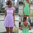 Women Sexy Backless Lace Floral Pleated Swing Party Evening Cocktail Mini Dress