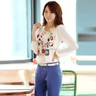 Vintage Women Floral Chiffon T-Shirt Long Puff Sleeve Casual Tops Blouse