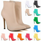 Womens Matt PU High Heels Autumn Casual Ankle Boots Shoes Size UK2 3 4 5 6 7 8 9