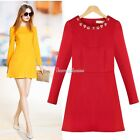 Winter Women Slim Long Sleeve Casual Party Prom Beaded Mini Dress Free Shipping
