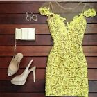 Women Mesh Cap Sleeve Floral Lace Hip-wrapped Ladies Mini Bodycon Dress Party LA