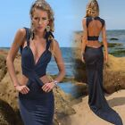 Hot Backless Deep V Women Long Slim Dress Cocktail Party Prom Maxi Dress Blue BE