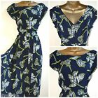 NEW PLUS SIZE RETRO TEA DRESS NAVY LIME FLORAL ROCKABILLY SWING 16 -  26/28