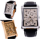 Fashion Men's Black Leather Square Case Skeleton Mechanical Wrist Men's Watch
