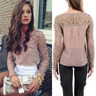 New Fashion Womens Casual Long Sleeve T-Shirt Chiffon + Lace Loose Tops Blouse
