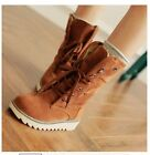 Women Fashion comfort flats Lace-up round toes Ankle Winter Warm boots Plus Size