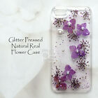 XGZ Glitter Purple Pressed Real Flower Hand Craft Bling Hard Skin Case Cover