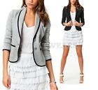 Fashion Women Blazer Short Turn Down Collar Single Button Jacket Suit Coat HUK